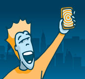 Happy user holding his new phone Royalty Free Stock Images