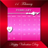 Happy Vaentine Day on February Calendar in dark red rectangle bac Stock Images
