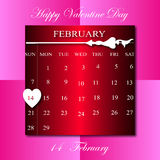 Happy Vaentine Day on February calendar in pink  square backgrou Stock Image