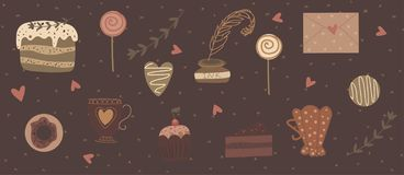 Happy Valentine's Day collection of cute objects vector illustration
