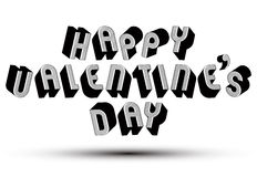 Happy Valentine�s Day greeting phrase made with 3d retro style Stock Images