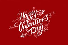 Happy Valentine's day text on red background royalty free stock photography