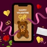 Happy valentine's gift, teddy bear, online shopping concept. Flat vector illustration stock illustration