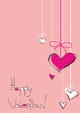 Happy Valentine!. Illustration for holiday giftcard with colored background, with tender rose and white colored hearts Stock Photos