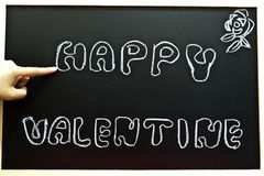 Happy valentine. On a chalkboard Royalty Free Stock Photography