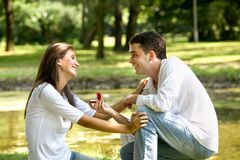 Happy Valentine. Couple in love celebrating engagement royalty free stock photography