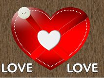 Happy valentine with button, illustration Royalty Free Stock Photos