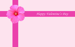 Happy Valentine card. Valentine card with love letter with pink flower Stock Photography