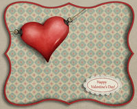 Happy Valentine card. Greeting card for Valentine's Day with hearts and vintage patterns. Computer graphics Royalty Free Stock Photos