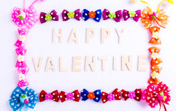 Happy valentine card with bow Royalty Free Stock Photography
