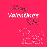 Happy valentine card with cat and dog Stock Image