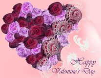 Happy Valentine card with flower peonies heart shape Vector realistic. Illustration Royalty Free Stock Photos