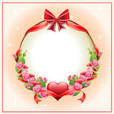 Happy valentine card. Valentine card with item such pink rose wreath, red bow and ribbon, red heart shape, etcnneps 10 file, with no gradient meshes,blends stock illustration
