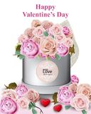 Happy Valentine card with peony and roses flowers gift box Vector illustrations. Happy Valentine card with peony and roses flowers gift box Vector illustration Royalty Free Stock Photo