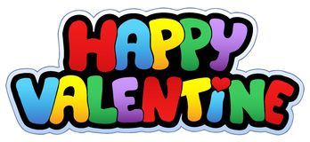 Happy Valentine cartoon sign Royalty Free Stock Photos