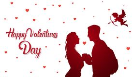 Happy Valentine Day Background, Cute Cupid Fly Over Silhouette Couple Holding Hands. Flat Vector Illustration Royalty Free Stock Photo