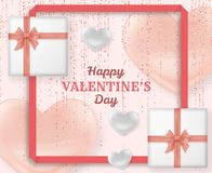 Happy Valentine Day background with shiny and glossy hearts. Pastel pink glitter and confetti. Greeting card and Love. Template. Vector illustration stock illustration