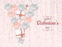 Free Happy Valentine Day Background With Shiny And Glossy Hearts. Pastel Pink Glitter And Confetti. Greeting Card And Love Stock Image - 138171971
