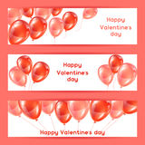 Happy Valentine day banners with pink and red glossy balloons Royalty Free Stock Photo