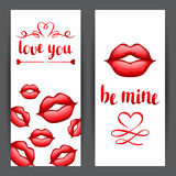 Happy Valentine day banners with red realistic lips.  Stock Image
