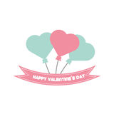 Happy valentine day card balloons heart pastel color Stock Photography