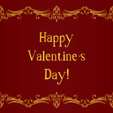 Happy valentine day card with decorative divider Stock Images