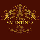 Happy valentine day card with decorative divider Royalty Free Stock Photography