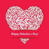 Happy Valentine Day Card with floral heart on the  Royalty Free Stock Photo