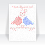 Happy Valentine Day card template or Valentines Day party flyer design in fashionable soft blue and pink colors. Cartoon loving co Royalty Free Stock Image