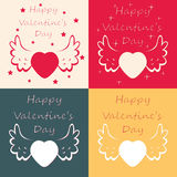 Happy valentine day cards, vector. Set of happy valentine day cards, vector Royalty Free Illustration