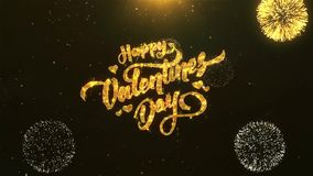 Happy valentine day Celebration, Wishes, Greeting Text on Golden Firework. Greeting Card text Reveal from Golden Firework & Crackers on Glitter Shiny Magic stock video