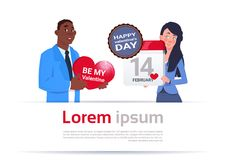 Happy Valentine Day Concept Young Couple Holding Heart Shape Card And Calender Page Over Template Background. Flat Vector Illustration Stock Image