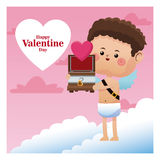 Happy valentine day cupid giving wooden chest heart. Vector illustration eps 10 Stock Photos