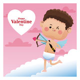 Happy valentine day cupid shooting bow pink sky Stock Images