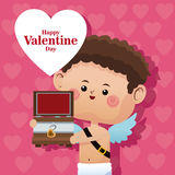 Happy valentine day cupid wooden chest pink heart bakcground. Vector illustration eps 10 Royalty Free Stock Images