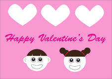 Happy valentine day with 2 cute cartoon faces Royalty Free Stock Photography