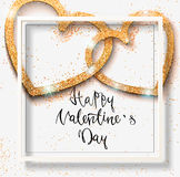 Happy valentine day festive sparkle layout template design. Glit. Ter gold hearts on white background with frame, border. Lettering Valentine`s day card vector Royalty Free Stock Photography