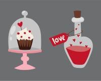 Happy valentine day flat design love wedding items and heart love romance celebration vector illustration. Stock Photos