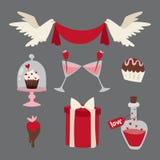 Happy valentine day flat design love wedding items and heart love romance celebration vector illustration. Stock Image