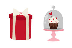 Happy valentine day flat design love wedding items and heart love romance celebration vector illustration. Royalty Free Stock Photography