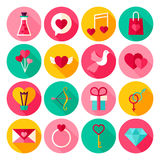 Happy Valentine Day Flat Icons Stock Images