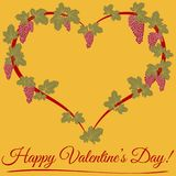 Happy Valentine day. A floral heart with leaf and grape. Decorative ornamental for printing on t-shirts or greeting card vector illustration