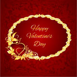 Happy Valentine day frame hearts with gold leaves vector Stock Images