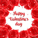 Happy Valentine day frame with red realistic roses Stock Photo