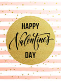Happy Valentine day gold glittering greeting card Royalty Free Stock Images