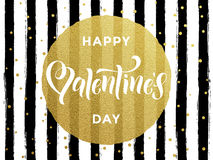 Happy Valentine day gold glittering greeting card Stock Photography