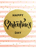 Happy Valentine day gold glittering greeting card Royalty Free Stock Photos
