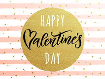 Happy Valentine day golden glitter greeting card Royalty Free Stock Image