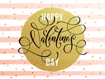 Happy Valentine day golden glitter greeting card. Vector gold Valentine Day text lettering with golden dots and watercolor white and pink stripes for luxurious Royalty Free Stock Image