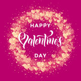 Happy Valentine day golden hearts pattern greeting card. Luxury Valentines Day text lettering on golden hearts pattern for premium red greeting card Royalty Free Stock Images